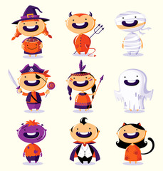 Halloween set of cute cartoon children in colorful costumes
