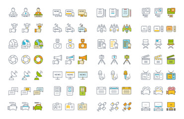 Set Vector Flat Line Icons Television