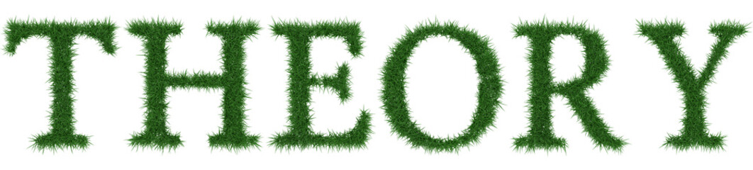 Theory - 3D rendering fresh Grass letters isolated on whhite background.