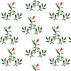 Seamless watercolor floral pattern. The tender leaves. Botanical ornament for textiles, Wallpaper, packaging.