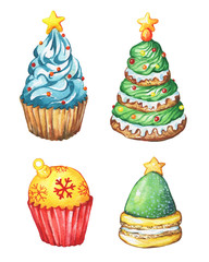 Set cupcake a christmas tree shape, sugar star. Christmas decoration for greeting card, invitation, paper. New Year. Watercolor hand drawn painting illustration isolated on white background.