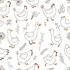 Seamless pattern with cartoon domestic birds