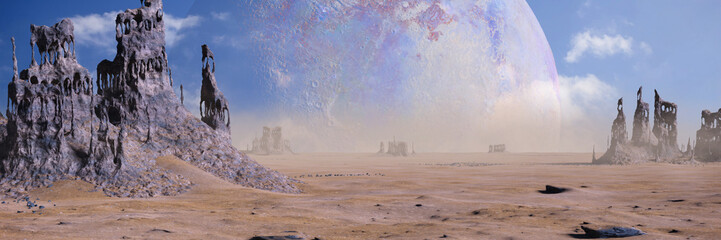 alien planet landscape with strange rock formations