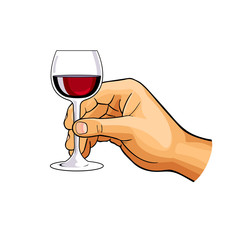 hand with glass of wine, vector illustration