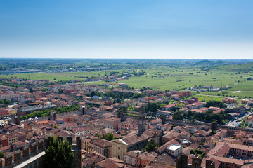 Soave town aerial view.Italian landscape