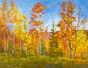 Autumn landscape, oil painting