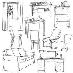 Vector set of modern furniture objects, drawn with black pen. Table, sofa, armchair, cupboard, chairs, desk, window.