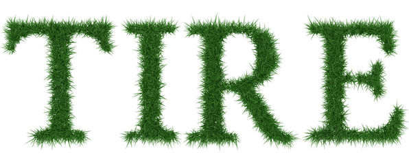 Tire - 3D rendering fresh Grass letters isolated on whhite background.