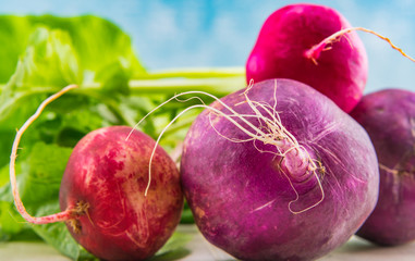 Close Up of Purple and Red Radishes