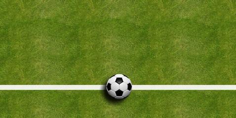 Soccer ball on field grass background. 3d illustration