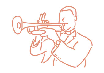 jazz musician with an instrument. line drawing. hand drawn. vector illustration. Cartoon. Wall mural