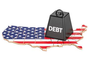 United States national debt or budget deficit, financial crisis concept, 3D rendering