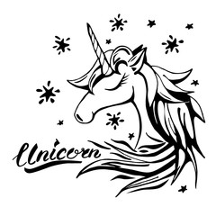 Unicorn text and character illustration in tattoo style