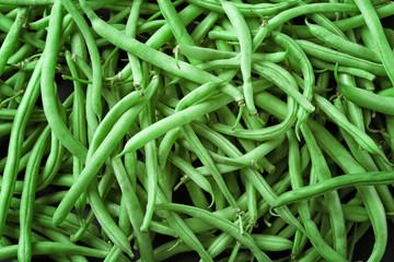 Raw fresh organic green beans, close up