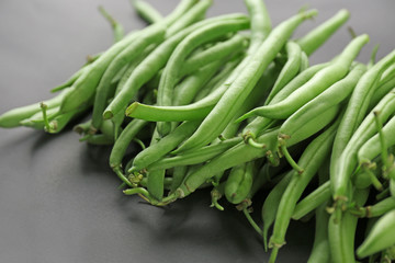 Fresh green beans on table, close up