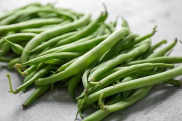 Fresh green beans, close up