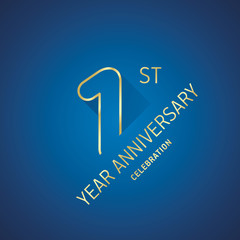 Anniversary 1st year celebration logo gold blue greeting card