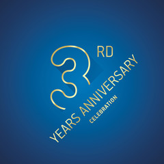 Anniversary 3rd years celebration logo gold blue greeting card