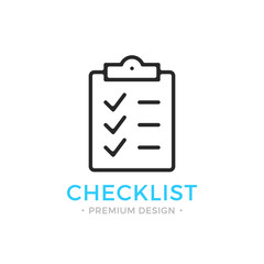 Checklist line icon. Clipboard with checkmarks. List with ticks, check marks. Task is done, work is finished concept. Black vector checklist icon