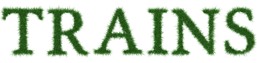 Trains - 3D rendering fresh Grass letters isolated on whhite background.