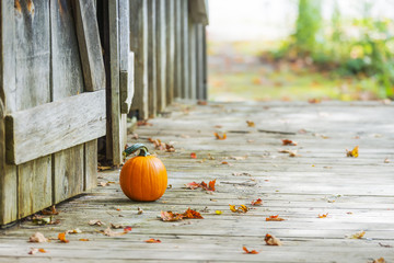 Small pumpkin sitting on wooden deck outside rustic barn doors, autumn leaves on ground