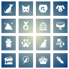 Set Of 16 Pets Icons Set.Collection Of Pile, Medallion, Rat And Other Elements.