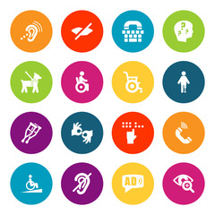 Set Of 16 Accessibility Icons Set.Collection Of Universal Access, Ramp, Phone And Other Elements.