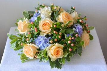 floral composition with a yellow roses