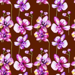 beautiful original red blooming orchids. watercolor art