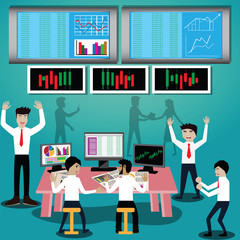 Business finance concept.Happy stock investor - vector