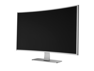 3D Illustration - Silver curved Flat TV on white Background