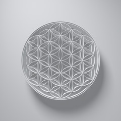 3D Illustration - Flower of Life Sign with light above on grey background