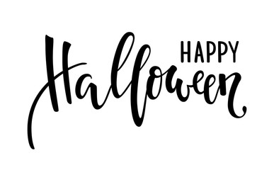Happy halloween. Hand drawn creative calligraphy and brush pen lettering. design for holiday greeting card and invitation, flyers, posters, banner halloween holiday.