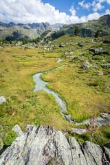 vue verticale sur un ruisseau de montagne avec un rocher en premier plan et des montagnes en arrière plan