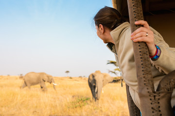 Woman on safari game drive