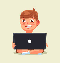 Happy smiling little boy teen character chatting by internet. Vector flat cartoon illustration
