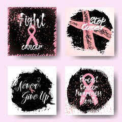 Set of October breast cancer awareness month background, set of annual campaign cards with pink ribbons and hand written or drawn motivational calligraphy quotes. Vector.