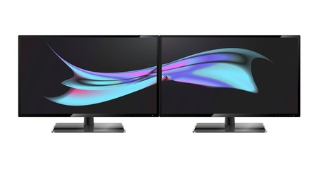 Two desktop monitors full hd aspect ratio 16:9. Multiple Screen. Multiple wallpaper on transparent screens.