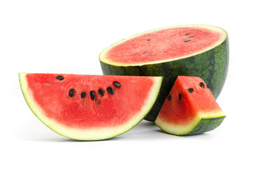slice and half of watermelon isolate on white background