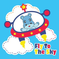 Vector cartoon illustration with cute baby hippo fly with colorful UFO for kid t-shirt graphic design, backdrop and wallpaper
