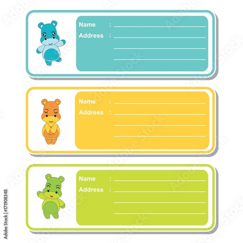 Address Label Vector Cartoon With Cute Hippo Boys On Colorful Background Suitable For Kid