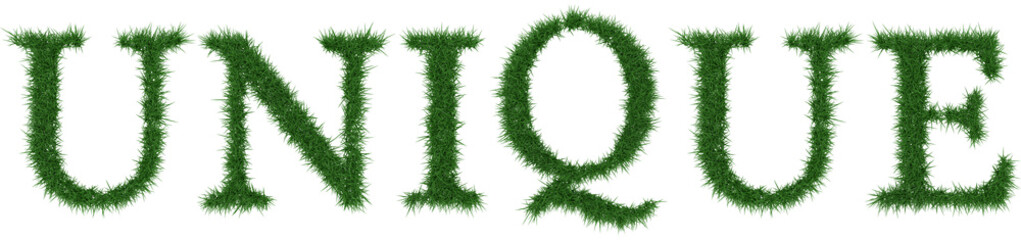 Unique - 3D rendering fresh Grass letters isolated on whhite background.