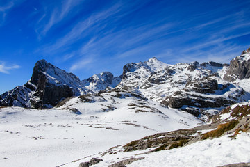 Winter Landscape in Picos de Europa mountains, Cantabria, Spain. The jagged, deeply fissured Picos de Europa mountains straddle southeast Asturias, southwest Cantabria and northern Castilla y Leon.