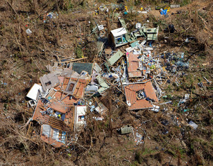 A completely destroyed house is seen 12 days after Hurricane Irma ripped through the island, in the Cruz Bay area of St. John, U.S. Virgin Islands