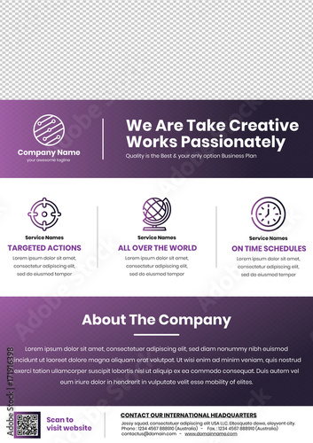 a4 size flyer template in purple a professional flyer template for