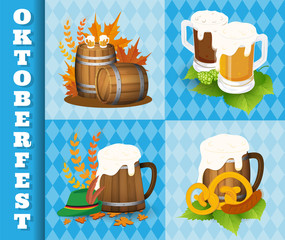 Oktoberfest Beer Festival Icons and Symbol Objects