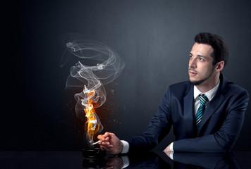 Businessman smoking.