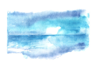 Watercolor seascape. Blue water, sea, ocean, river, skyline and blue sky. Scenic background for your design.