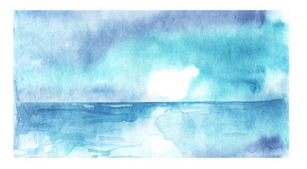 Watercolor seascape. Blue water, sea, ocean, river, skyline and blue sky.