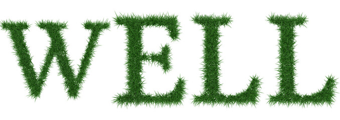 Well - 3D rendering fresh Grass letters isolated on whhite background.